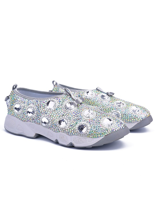 Bonnyin Argento Patent Pelle Diamond Sports Scarpe