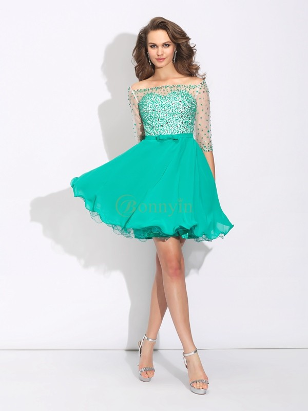 Verde Chiffona Off the Shoulder A-Line/Principessa Mini/Corto Abiti da cocktail