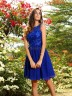 Royal Blue Chiffon Bateau A-Line/Princess Knee-Length Bridesmaid Dresses